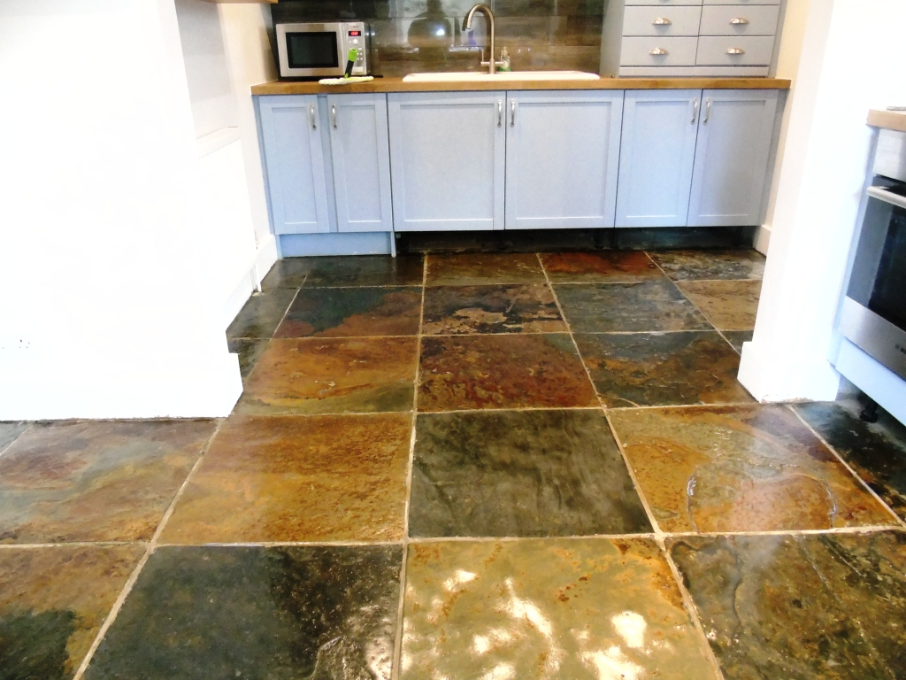 Polished slate floor tiles