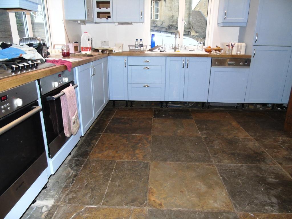 African Slate Floor Before Cleaning in Mickleton