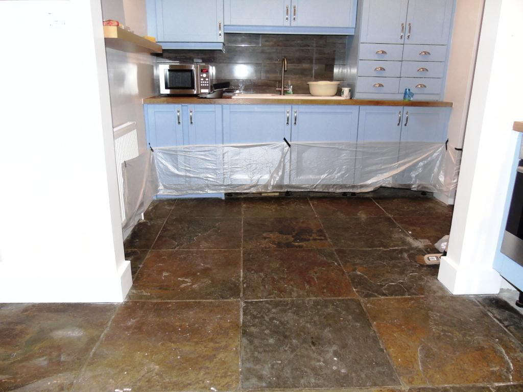 African Slate Floor Before Cleaning In Mickleton