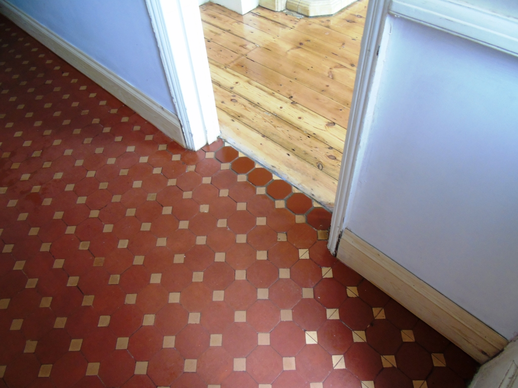 Victorian Tiled Hallway After Cleaning and Repair in Gloucester