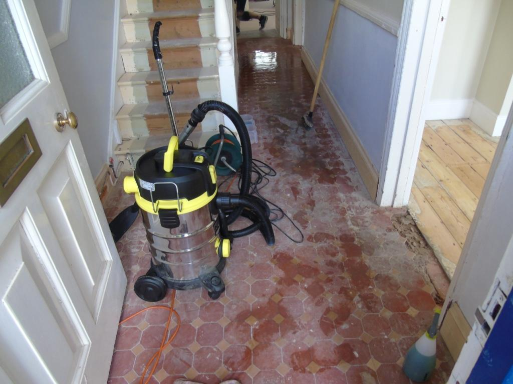 Victorian Tiled Hallway Before Cleaning in Gloucester