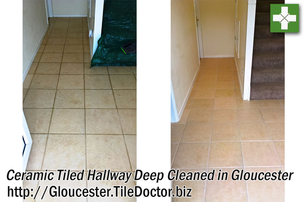 Ceramic Tiled and Grout Before and After Cleaning in Gloucester