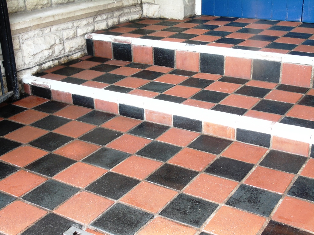 Old Quarry Tiled Church Steps After Cleaning Tewkesbury