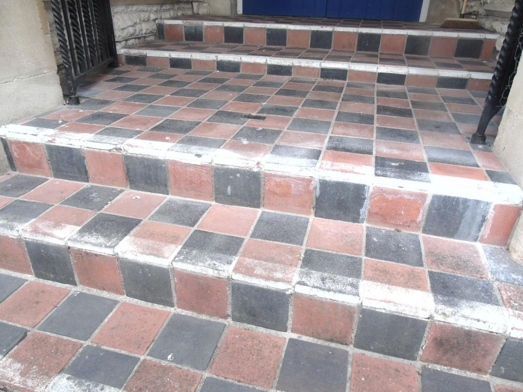 Old Quarry Tiled Church Steps Before Cleaning Tewkesbury