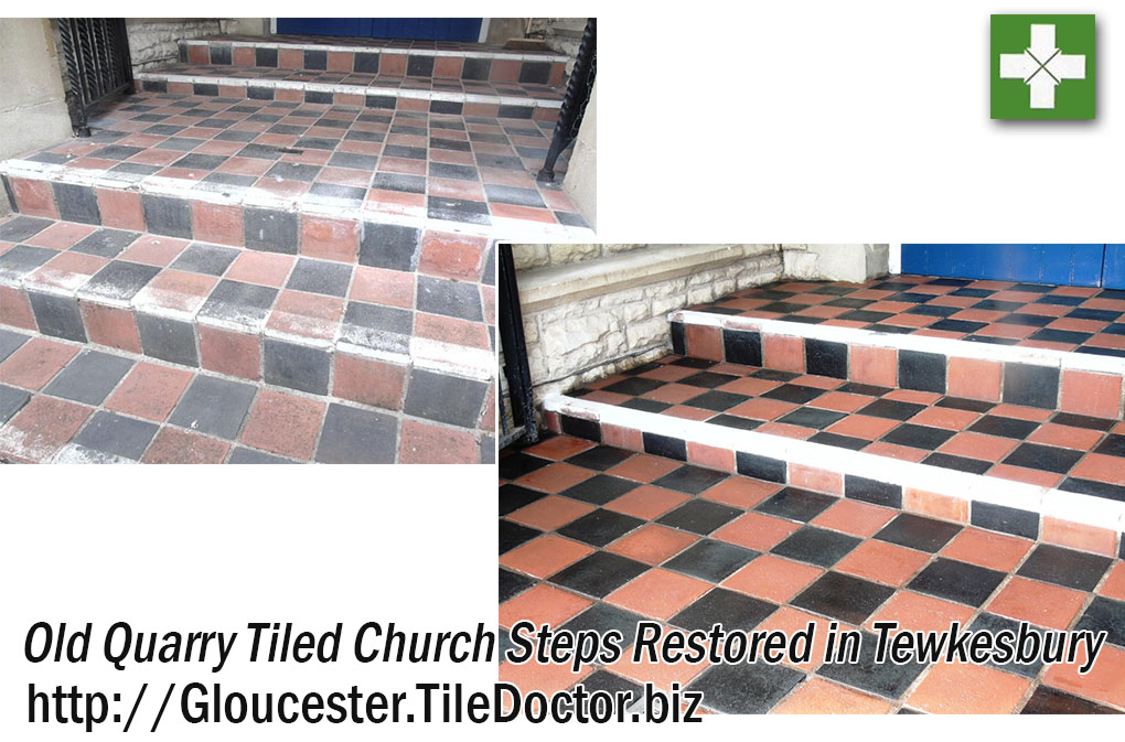 Old Quarry Tiled Church Steps Before and After Cleaning Tewkesbury