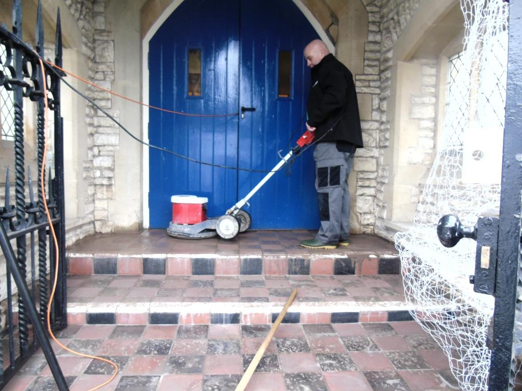 Old Quarry Tiled Church Steps During Cleaning Tewkesbury