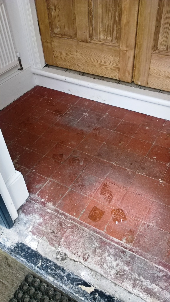 Quarry Tiled Porch Before Cleaning in Moreton-in-Marsh