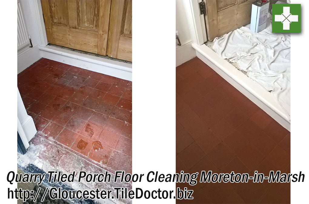 Quarry Tiled Porch Floor Deep Cleaned in Moreton in Marsh