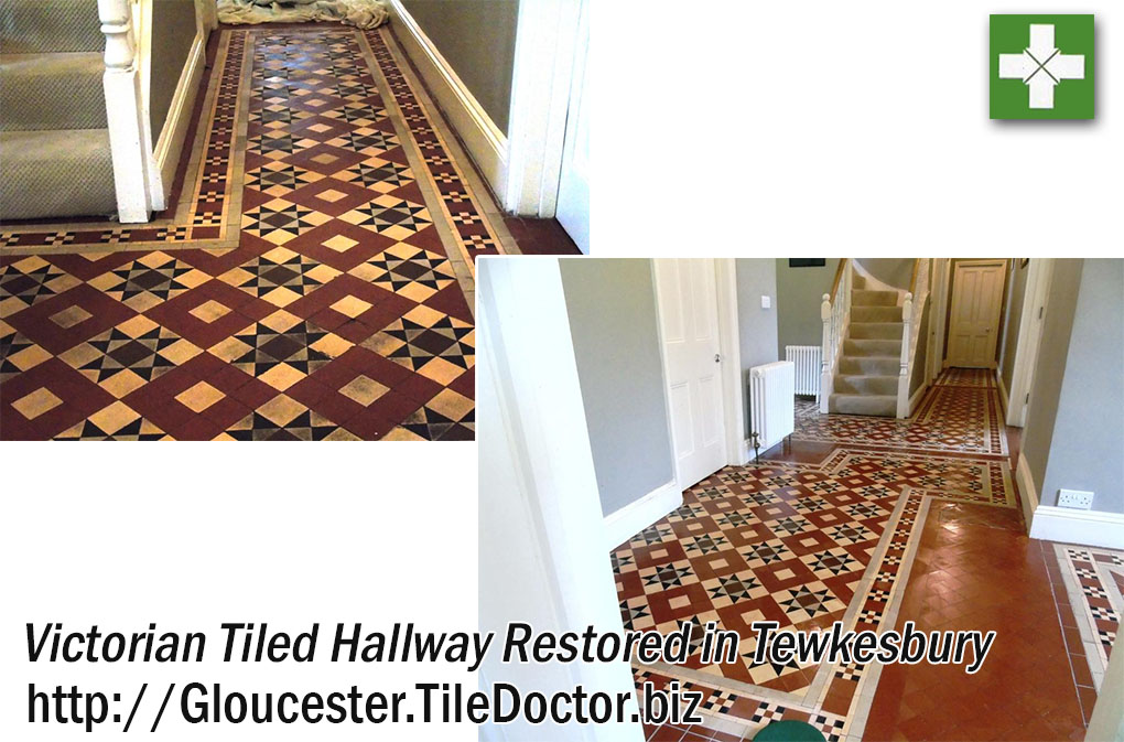 Victorian Tiled Hallway Floor Restored in Tewkesbury