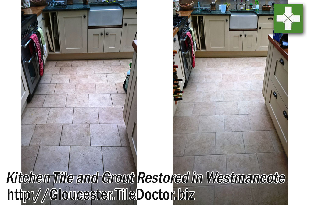 Ceramic Tiled Kitchen Before and After Cleaning Westmancote