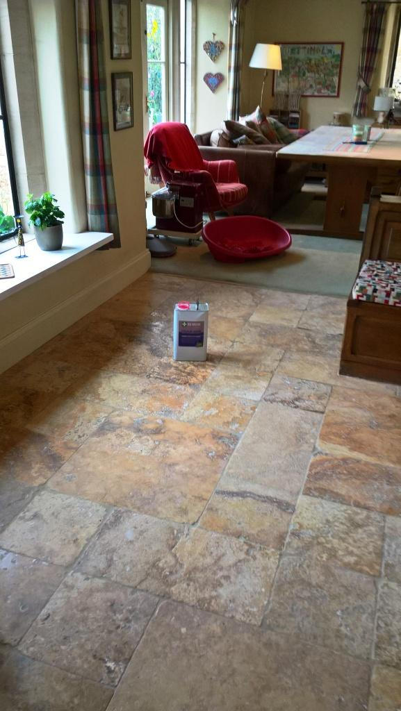 Travertine Kitchen Floor in Greet After Cleaning Before Sealing
