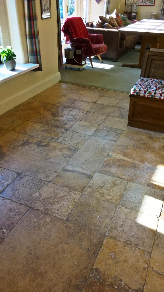Travertine Kitchen Floor in Greet Before Cleaning