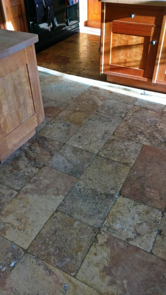 Travertine Kitchen Floor in Greet Before Cleaning