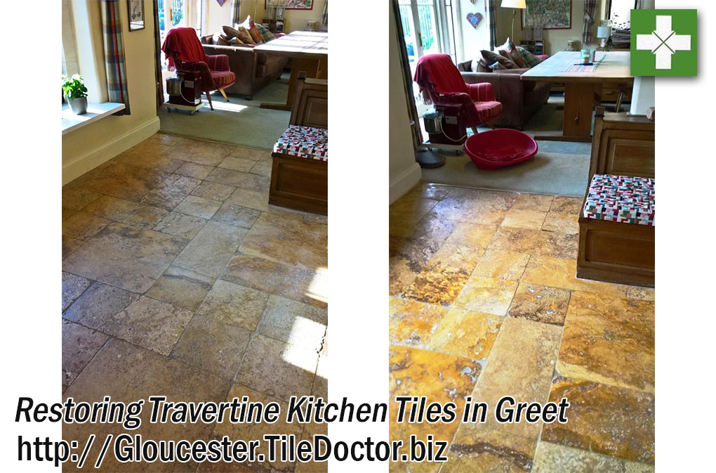 Travertine Tiled Kitchen Before and After Cleaning Greet