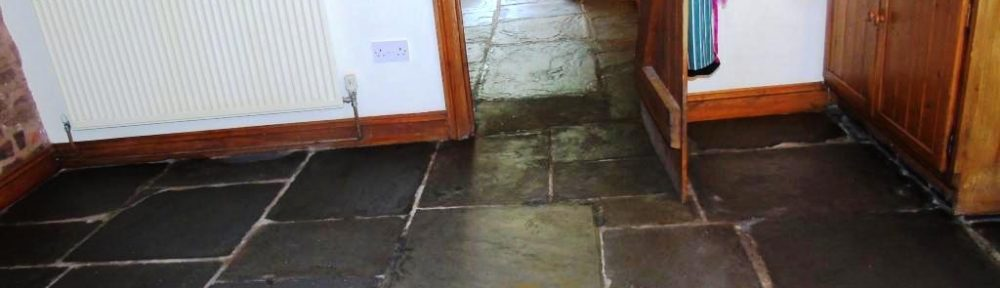 Rejuvenating Salvaged Flagstone Tiles at a Property in Ledbury
