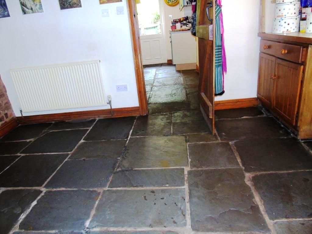 Salvaged Flagstone Floor After Restoration in Ledbury