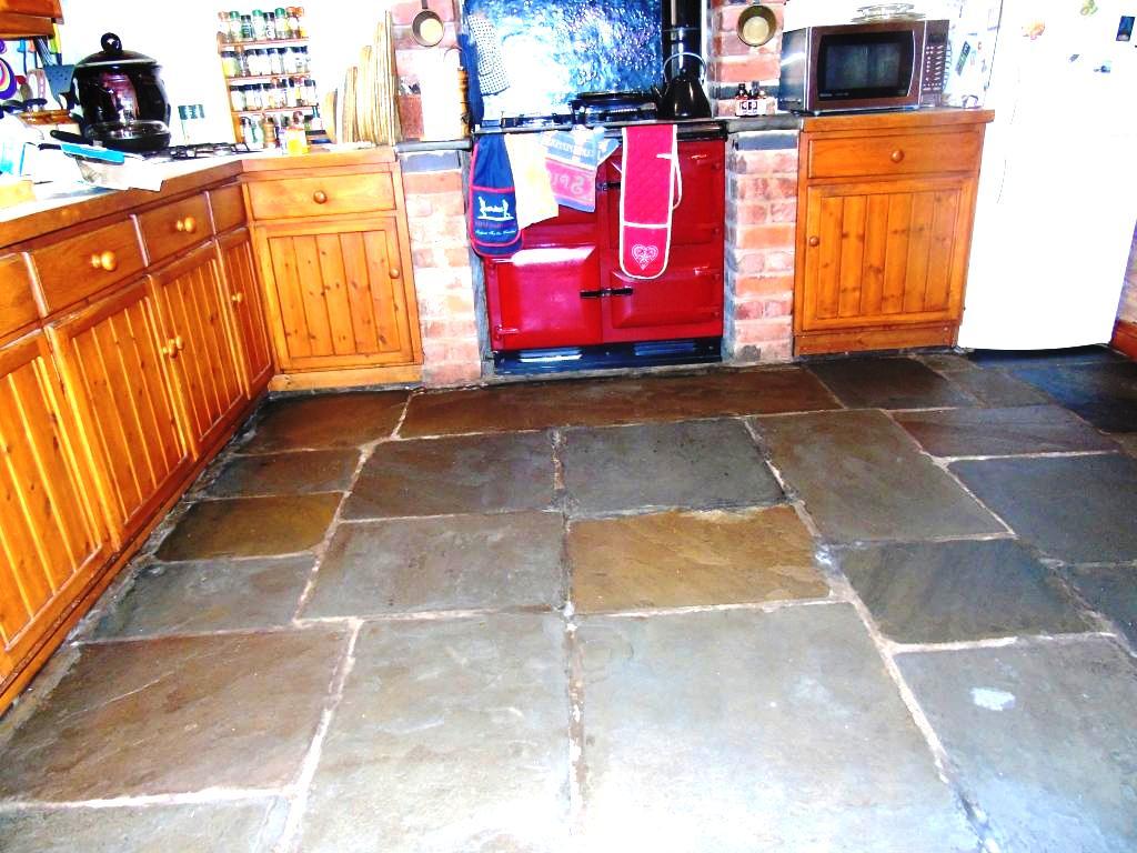 Salvaged Flagstone Floor After Restoration in Ledbury