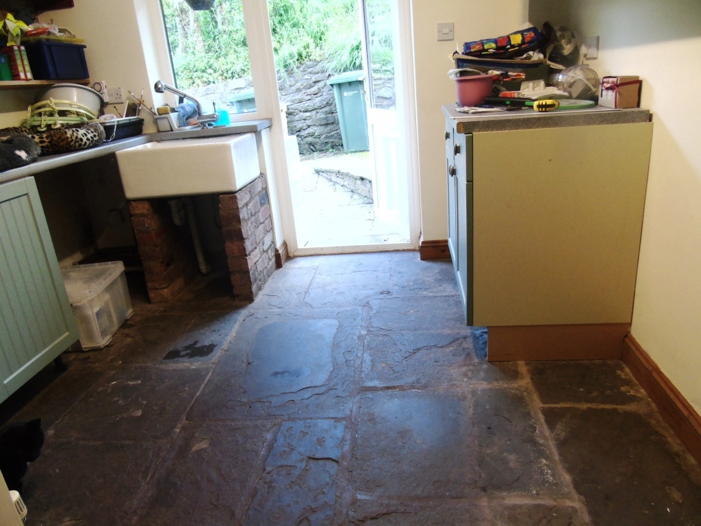 Salvaged Flagstone Floor Before Restoration in Ledbury