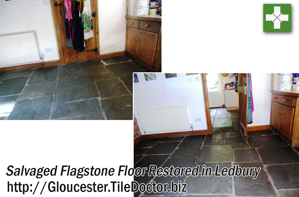 Salvaged Flagstone Floor Tiles Before and After Restoration Ledbury