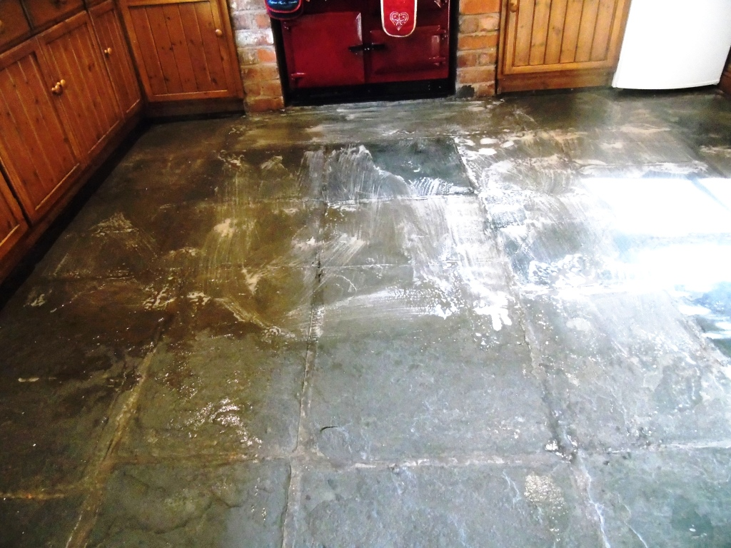 Salvaged Flagstone Floor During Cleaning in Ledbury
