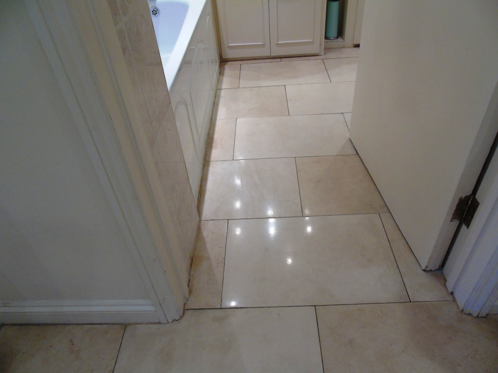 Limestone Bathroom Floor After Polishing Cirencester