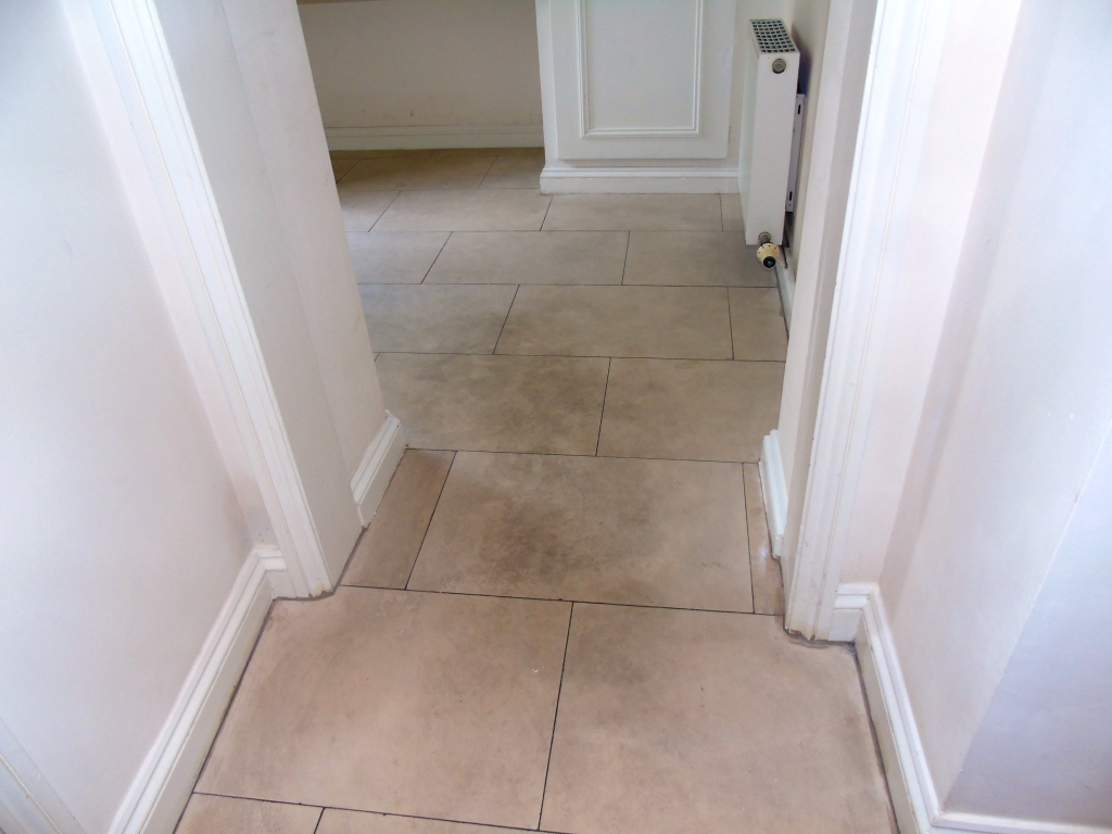 Limestone Floor Before Cleaning Cirencester