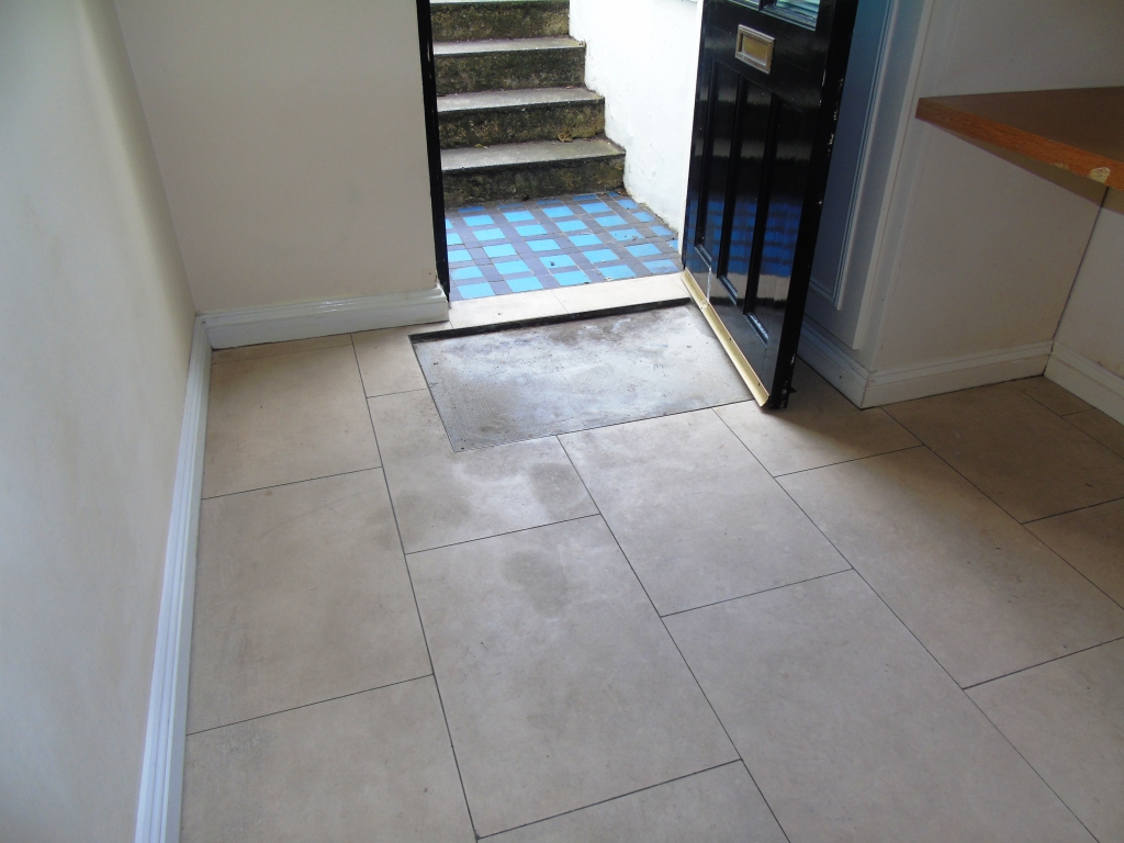 Limestone Hallway Floor Before Cleaning Cirencester