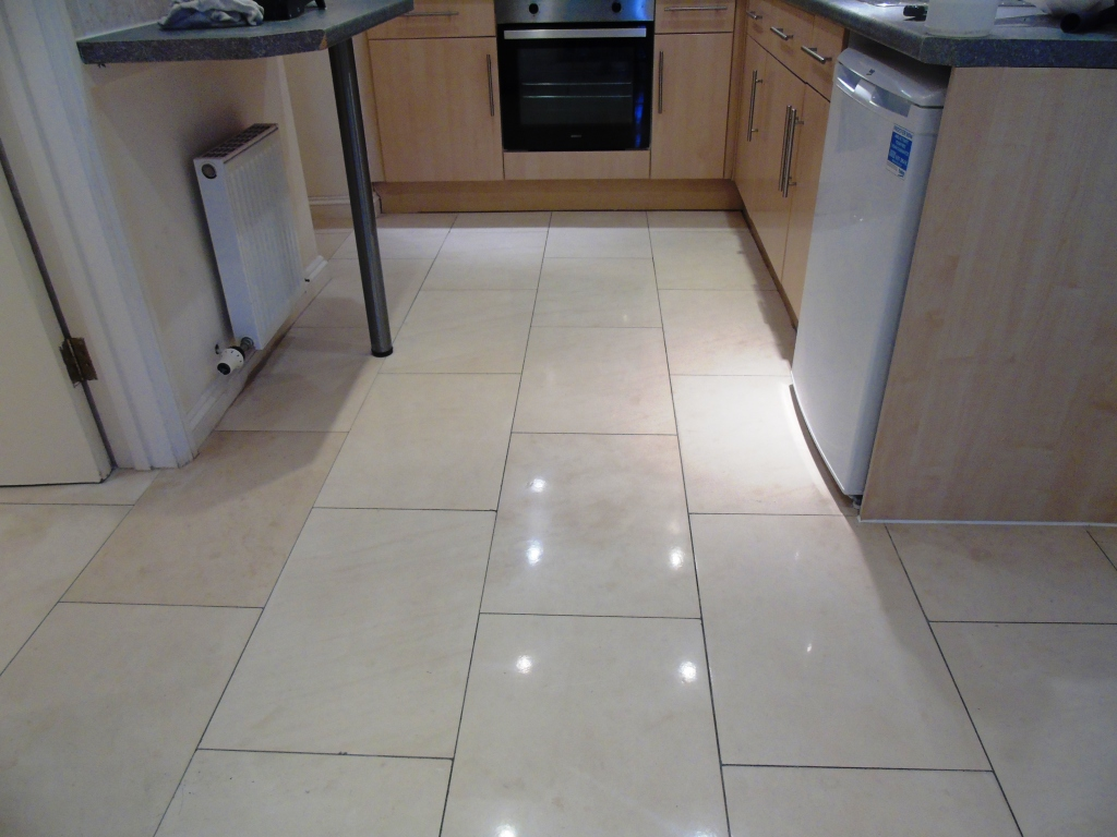 Limestone Kitchen Floor After Polishing Cirencester