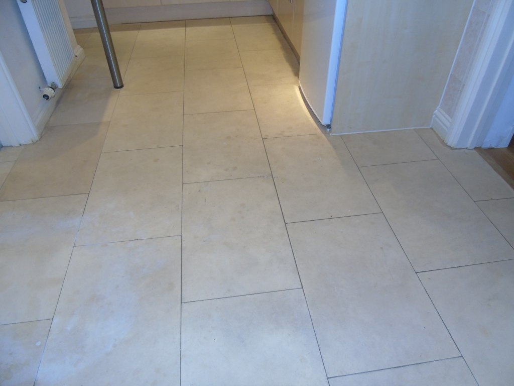 Limestone Kitchen Floor Before Cleaning Cirencester