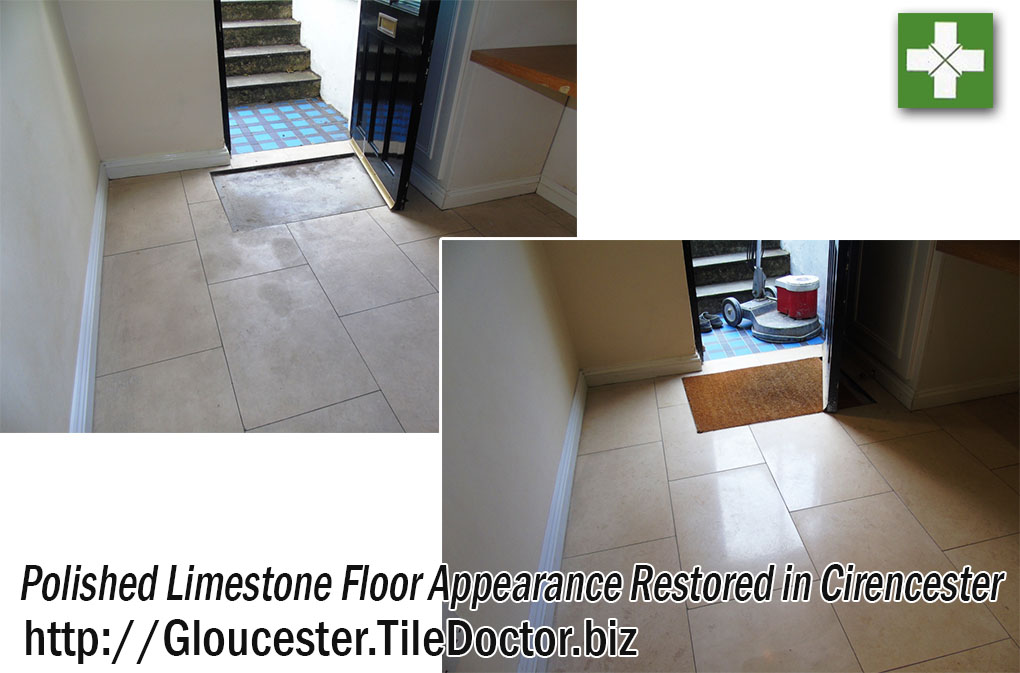Limestone Tiled Floor Before and After Polishing in Cirencester