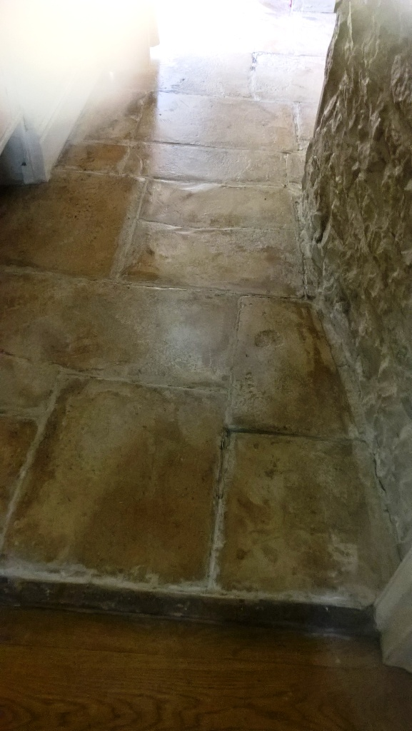 Old Flagstone Floor Before Restoration at Minchinhampton Cottage