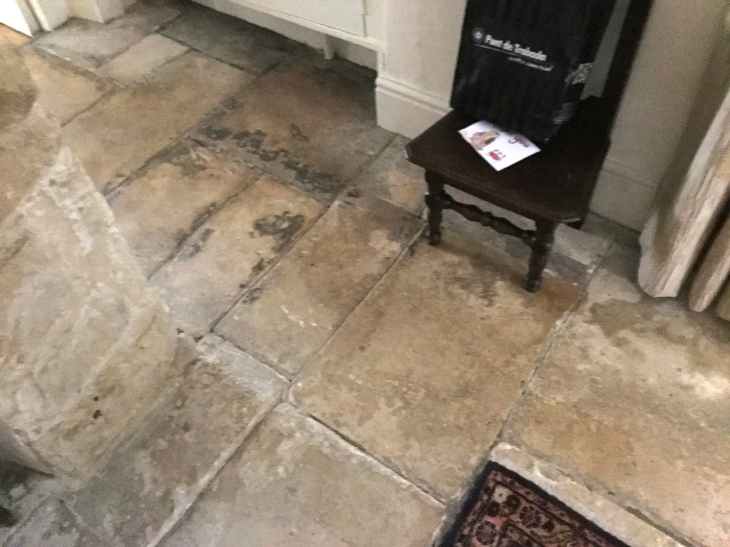 Old Flagstone Floor Before Restoration at Minchinhampton Cottage
