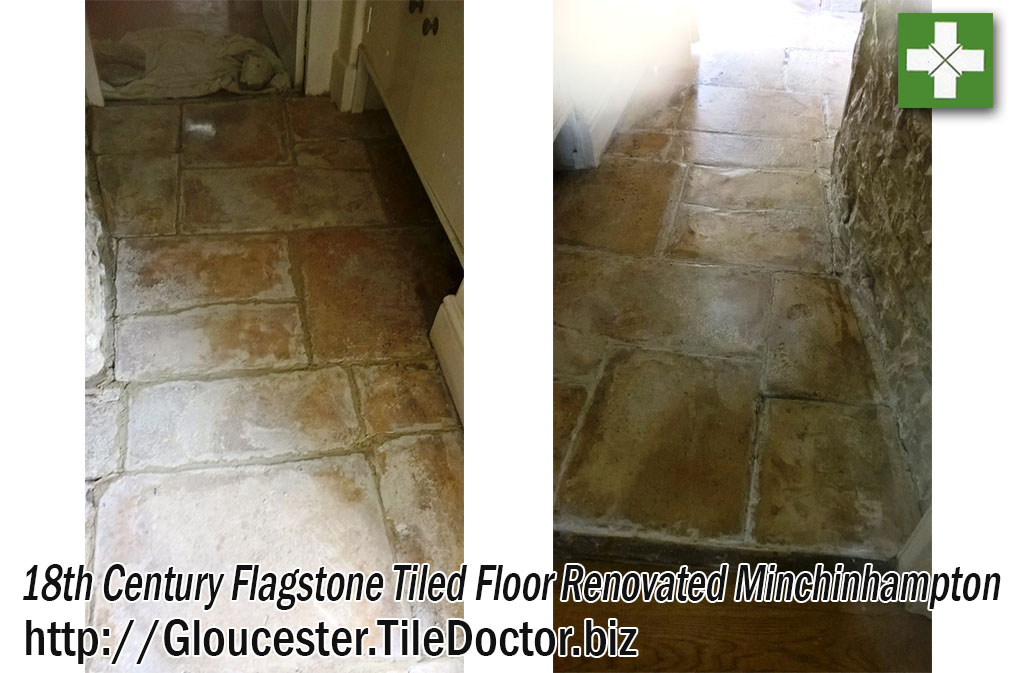 Old Flagstone Floor before and after Renovation in Minchinhampton
