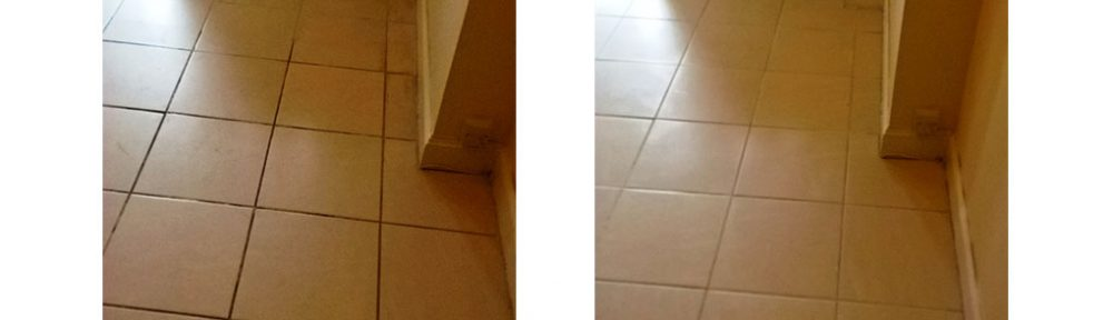 Ceramic Grout Hallway Before and After Cleaning and Sealing in Cirencester