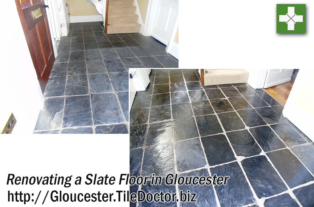 Slate Floor Before and After Renovation in Gloucester