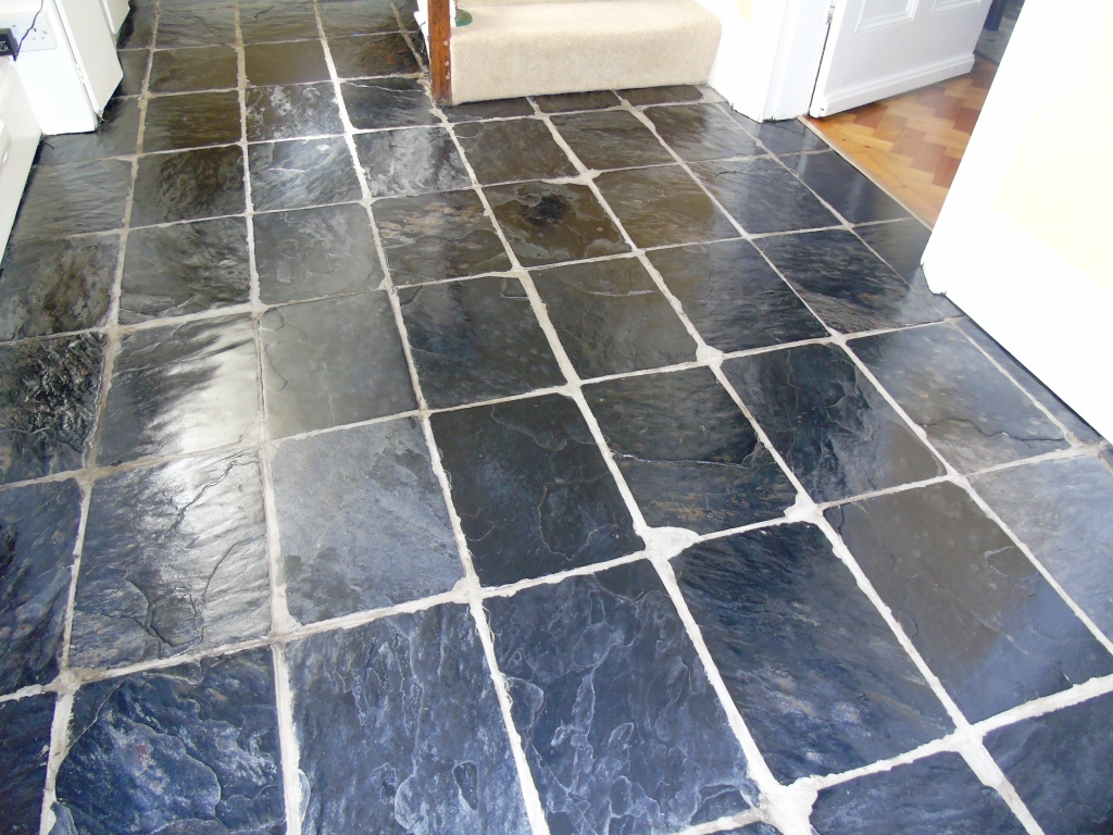 Slate tiled hallway floor After Cleaning Gloucester