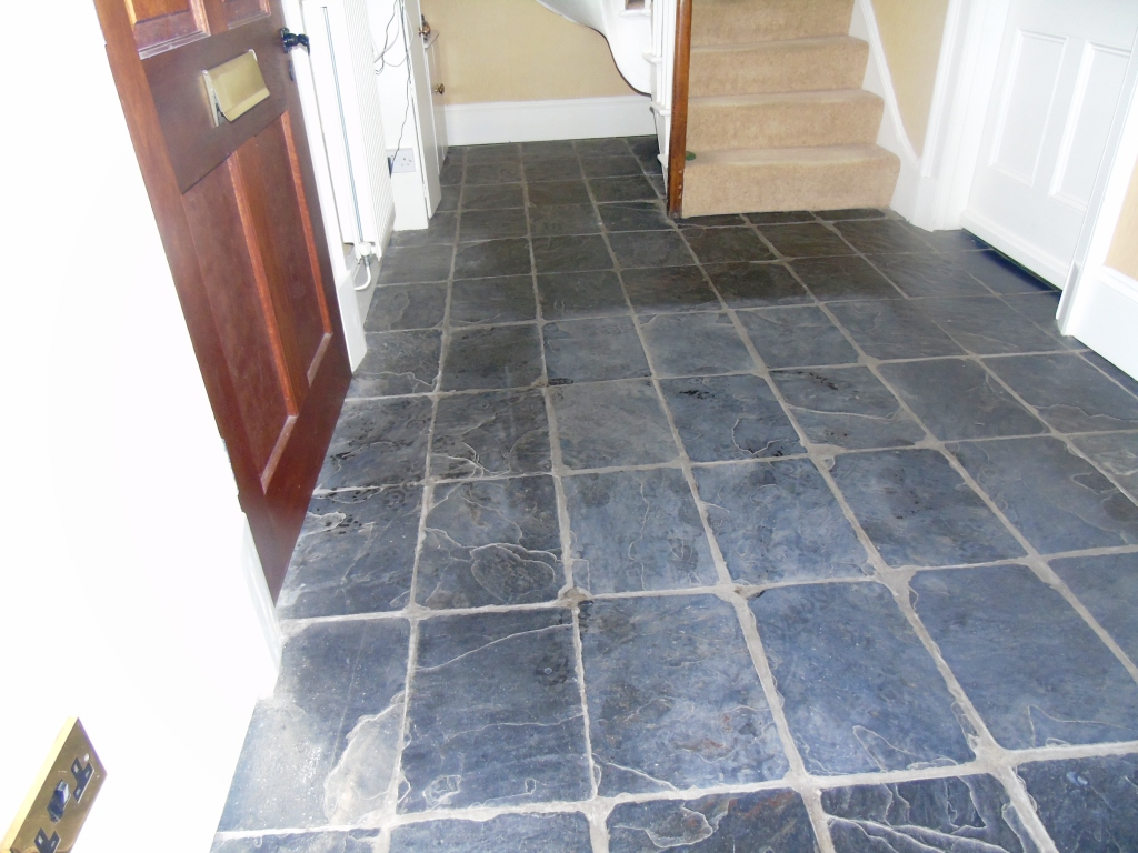 Slate tiled hallway floor Before Cleaning Gloucester