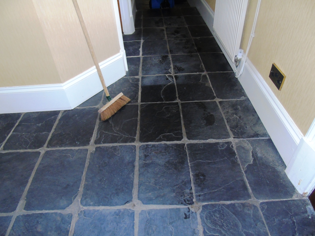 Renovating slate hallway floor tiles in gloucester stone cleaning slate tiled hallway floor before cleaning gloucester dailygadgetfo Gallery
