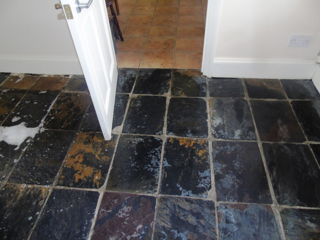 Slate tiled hallway floor During Cleaning Gloucester