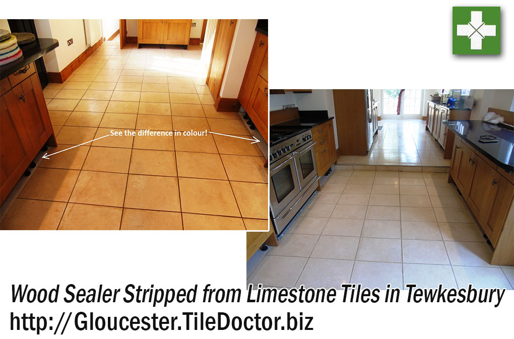 Limestone Tiles Before and After Stripping and Sealing in Tewkesbury
