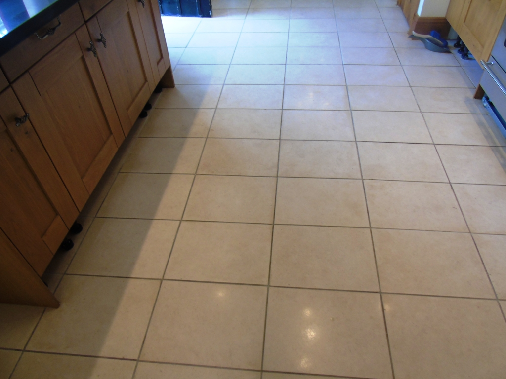 Limestone Tiles Sealed With Brown Wood Sealer After restoration in Tewksbury