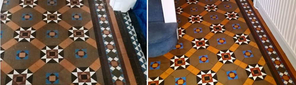 Original Victorian Tiled Hallway Repaired, Cleaned and Sealed in Cheltenham