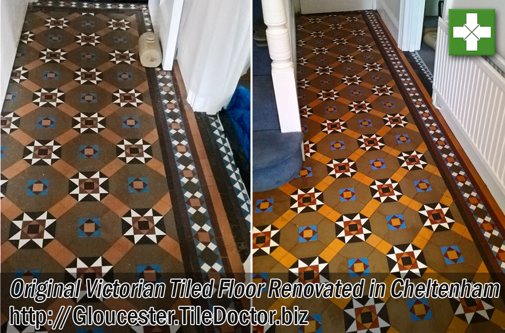 Original Victorian Tiled Floor Before and After Renovation in Cheltenham