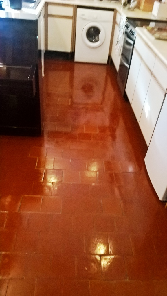 Quarry Tiled Floor Cheltenham After Cleaning and Sealing