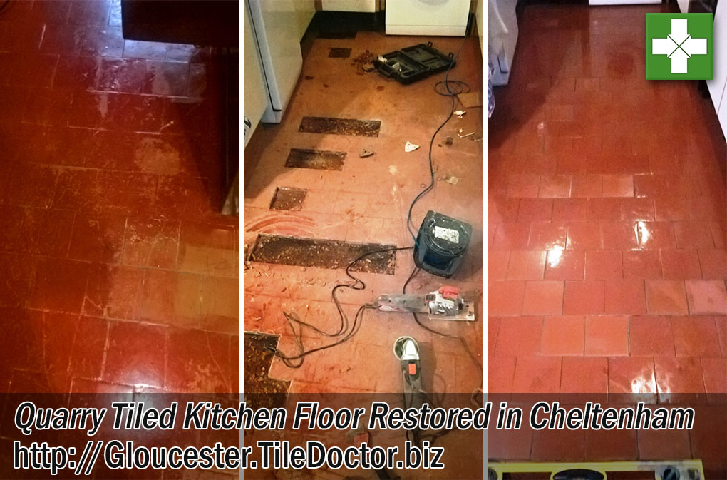 Quarry Tiled Kitchen Floor Before and After Restoration in Cheltenham