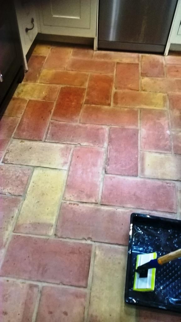 Terracotta Kitchen Floor Tiles in Bristol After Cleaning