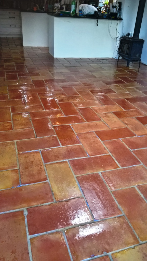 Terracotta Kitchen Floor Tiles in Bristol After Cleaning and Sealing