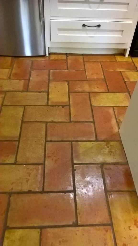Terracotta Kitchen Floor Tiles Bristol Before Cleaning