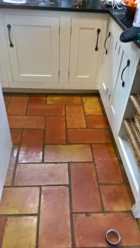 Terracotta Kitchen Floor Tiles in Bristol Before Cleaning