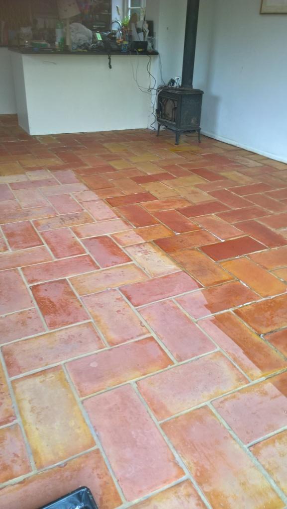 Terracotta Kitchen Floor Tiles in Bristol During Cleaning